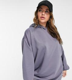 Грифельно-серое платье-худи мини в стиле oversized ASOS DESIGN Curve-Серый
