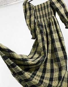 Черно-зеленое присборенное платье макси в клетку ASOS DESIGN-Многоцветный
