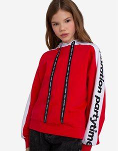 Красное худи колор-блок с принтом для девочки Gloria Jeans