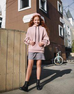 Розовое худи oversize с надписями для девочки Gloria Jeans