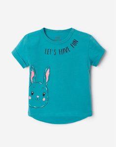 Бирюзовая футболка oversize с принтом для малышки Gloria Jeans