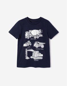 Синяя футболка с принтом для мальчика Gloria Jeans