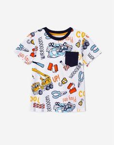 Футболка с рисунками и карманом для мальчика Gloria Jeans