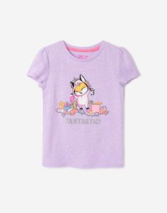 Фиолетовая футболка с принтом для девочки Gloria Jeans