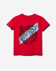 Красная футболка с тигром для мальчика Gloria Jeans