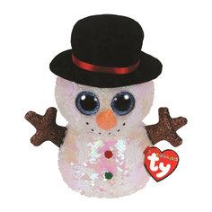 Игрушка мягкая TY Мэлти снеговик с пайетками