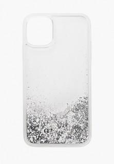 Чехол для iPhone Guess 11, Liquid Glitter Hard Hearts Silver