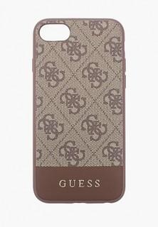 Чехол для iPhone Guess 7/8/SE, 4G PU Stripe Metal logo Brown