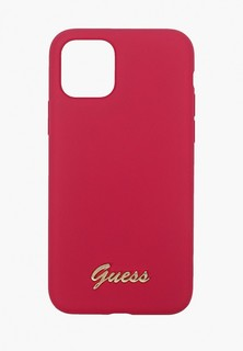 Чехол для iPhone Guess 11 Pro, Silicone collection Gold metal logo Red