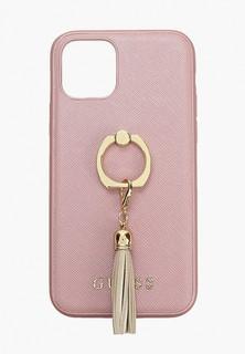 Чехол для iPhone Guess 11 Pro, Saffiano PU + Ring Pink