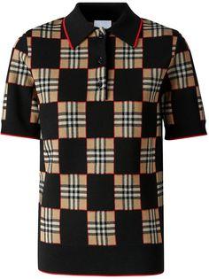 Burberry жаккардовая рубашка поло в клетку