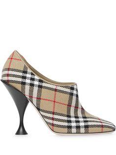 Burberry клетчатые туфли с квадратным носком