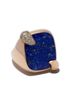 Pomellato золотое кольцо Ritratto с лазуритом и бриллиантами