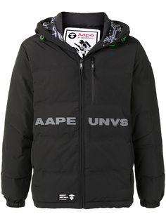 AAPE BY *A BATHING APE® пуховик с капюшоном и логотипом