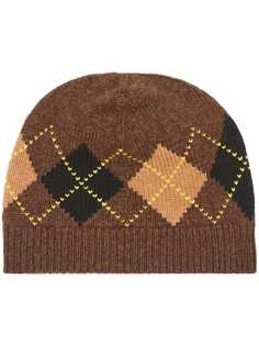 Burberry шапка бини с узором аргайл