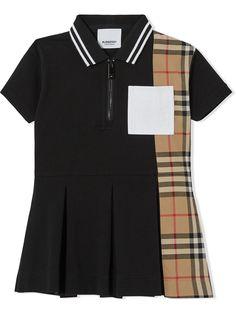 Burberry Kids платье-рубашка поло со вставкой в клетку Vintage Check