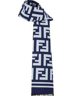 Fendi шарф с бахромой и логотипом FF
