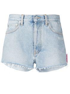 Off-White джинсовые шорты с бахромой