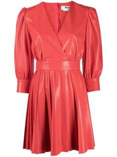 MSGM платье с V-образным вырезом и плиссировкой