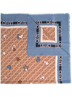 LIU JO шарф с монограммой и необработанными краями