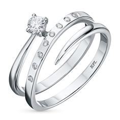 Кольцо из белого золота с бриллиантами э0901кц02121700 ЭПЛ Якутские Бриллианты