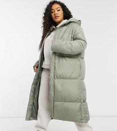 Удлиненное пальто-пуховик Threadbare Curve Jodie-Зеленый