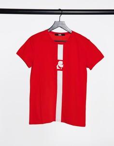 Красная спортивная футболка в полоску Karl Lagerfeld-Красный