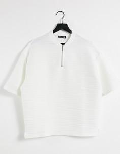 Белая фактурная oversized-футболка с воротником на молнии ASOS DESIGN-Белый