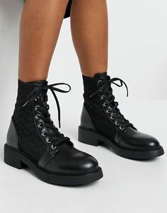 Черные ботинки с отстрочкой в виде зигзага в байкерском стиле Bershka-Черный