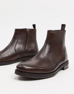 Коричневые кожаные ботинки челси ASOS DESIGN-Коричневый цвет