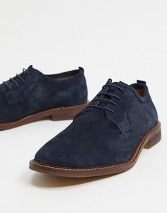 Темно-синие замшевые ботинки на шнуровке в стиле кэжуал с контрастной подошвой ASOS DESIGN-Темно-синий