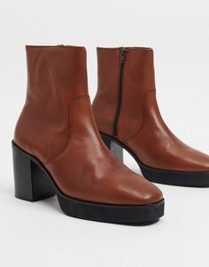Коричневые кожаные ботинки челси на платформе и каблуке ASOS DESIGN-Коричневый