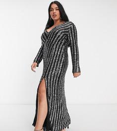 Эксклюзивное платье макси в полоску черного и серебристого цвета с пайетками и разрезом до бедра Jaded Rose Plus-Черный