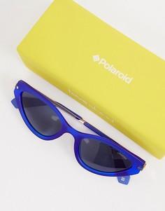 Овальные солнцезащитные очки в золотистой оправе с синими стеклами Polaroid X Love Island-Золотистый