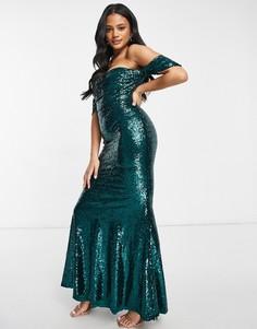 Изумрудно-зеленое платье-бардо макси с юбкой-годе и пайетками Club L-Зеленый