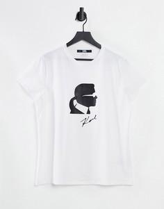 Белая футболка с принтом в виде головы и логотипом Karl Lagerfeld Karl Ikonik-Белый