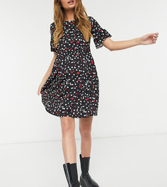Очень свободное платье с оборками на рукавах и мелким принтом Flounce Maternity-Черный