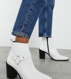 Ботинки из белой кожи с острым носом в стиле вестерн для широкой стопы Depp-Белый