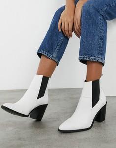 Ботинки из белой кожи с острым носом в стиле вестерн Depp-Белый