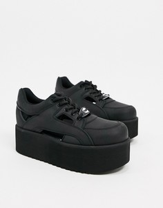 Черные кожаные кроссовки на платформе Buffalo-Черный