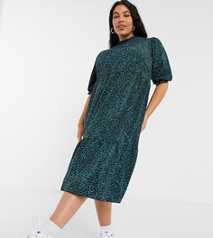 Зеленое платье миди ярусного кроя с высоким воротом и принтом New Look Curve-Зеленый