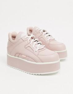 Розовые кожаные кроссовки на массивной платформе Buffalo-Розовый