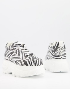 Кожаные кроссовки на массивной плоской платформе с зебровым принтом Buffalo-Многоцветный