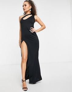 Черное платье макси на одно плечо со смещенным воротом и высоким разрезом на бедре Femme Luxe-Черный