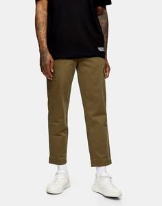 Широкие брюки-карго из органического хлопка цвета хаки Topman-Зеленый