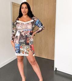 Платье мини с квадратным вырезом и комбинированным принтом New Girl Order Curve-Многоцветный