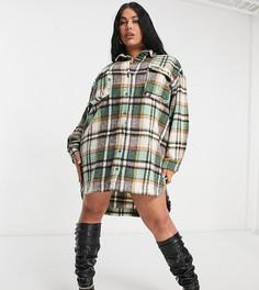 Платье-рубашка в стиле oversized в клетку Missguuided Plus-Многоцветный