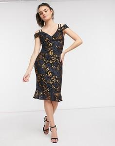 Сине-золотистое платье миди со спущенными плечами Girl In Mind-Золотистый