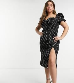 Платье миди в горошек с пышными рукавами и вырезом сердечком In The Style Plus x Shaughna-Многоцветный