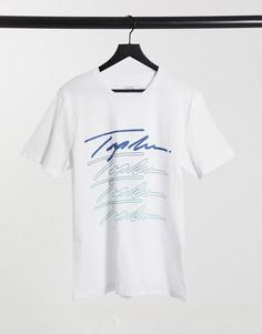 Белая футболка с фирменным принтом-подписью спереди Topman-Белый